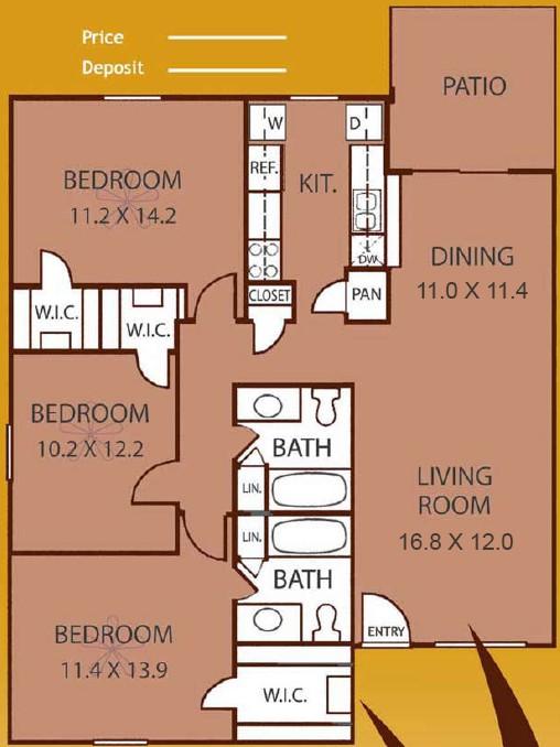 1,287 sq. ft. WILLOW floor plan