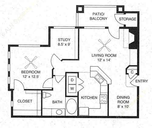 875 sq. ft. Trenton/A3 floor plan