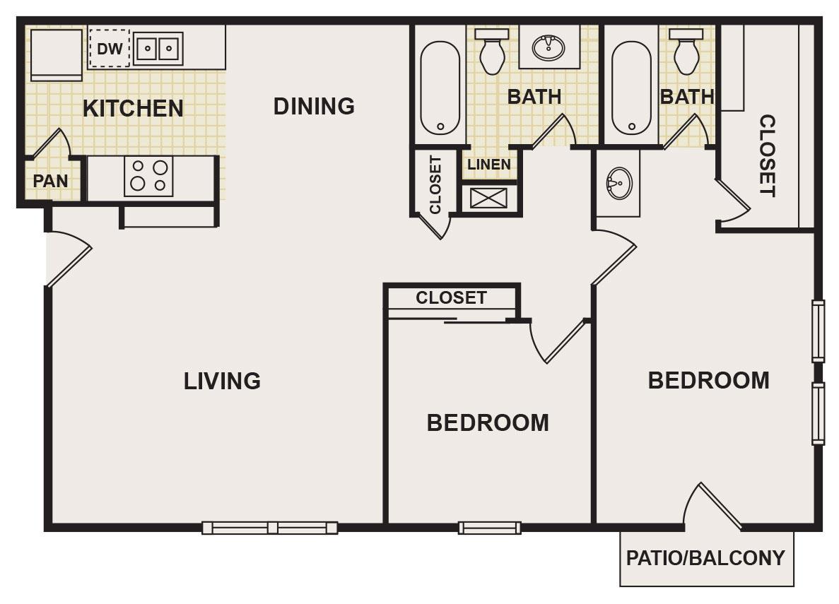 926 sq. ft. floor plan
