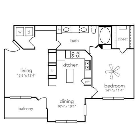 843 sq. ft. A4 floor plan
