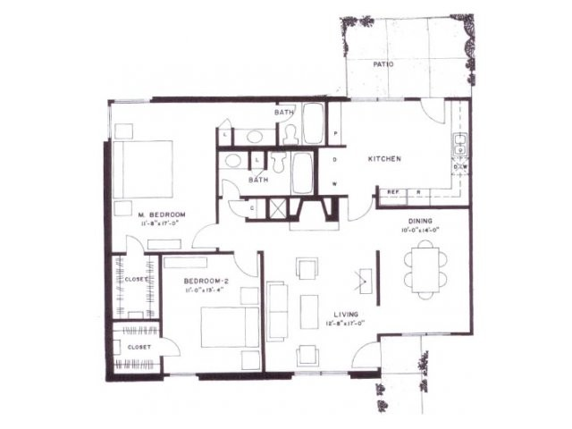 1,270 sq. ft. floor plan