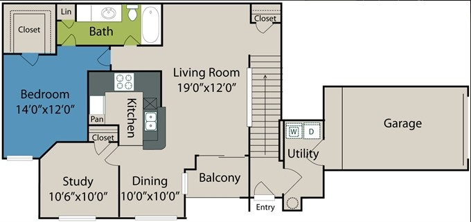 1,038 sq. ft. A6 floor plan