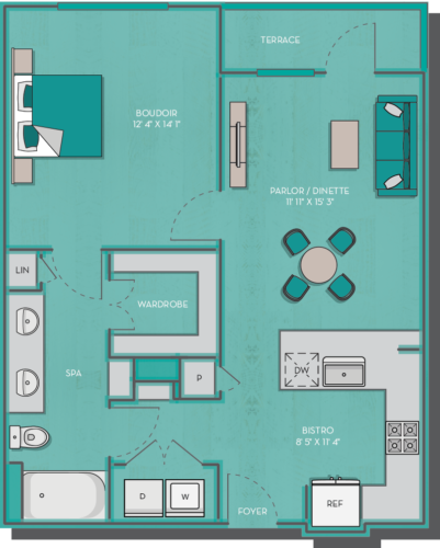 759 sq. ft. Cacun floor plan