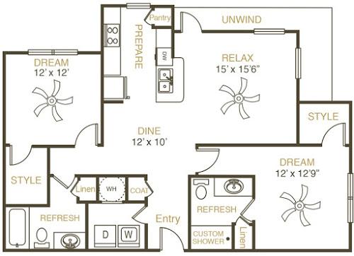 1,218 sq. ft. B2 floor plan