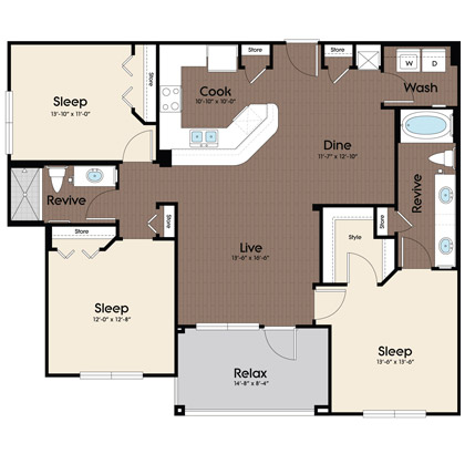 1,315 sq. ft. Cerulean floor plan