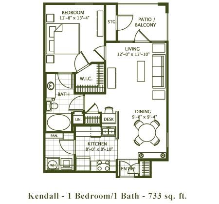 733 sq. ft. Kendell floor plan