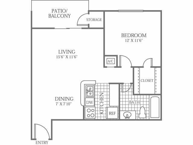 642 sq. ft. C floor plan