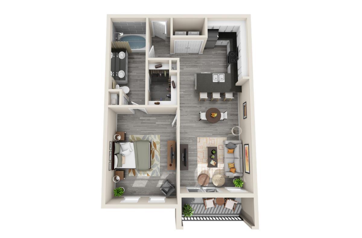 738 sq. ft. Morocco floor plan