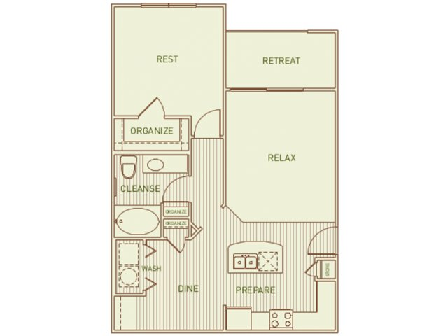 775 sq. ft. Gambel floor plan
