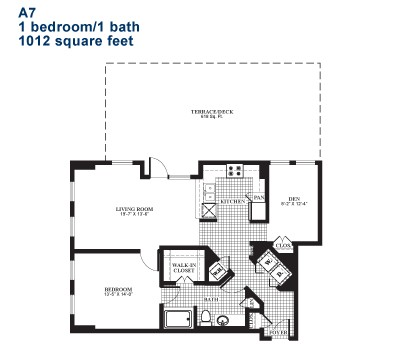 1,012 sq. ft. A7.1 floor plan