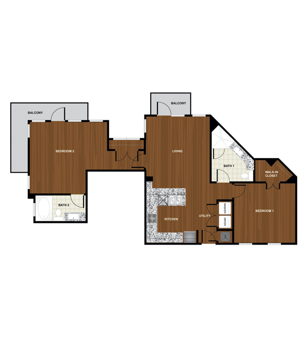 1,188 sq. ft. B5 floor plan