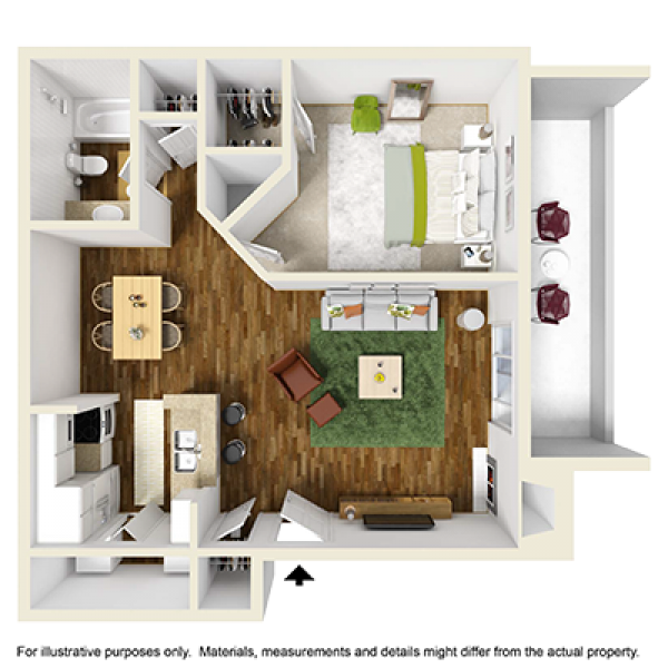 650 sq. ft. floor plan