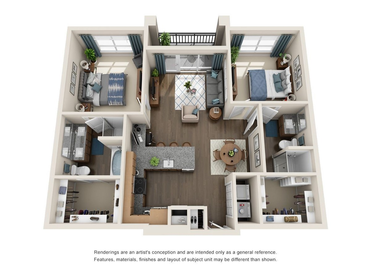 1,077 sq. ft. B1.1 floor plan