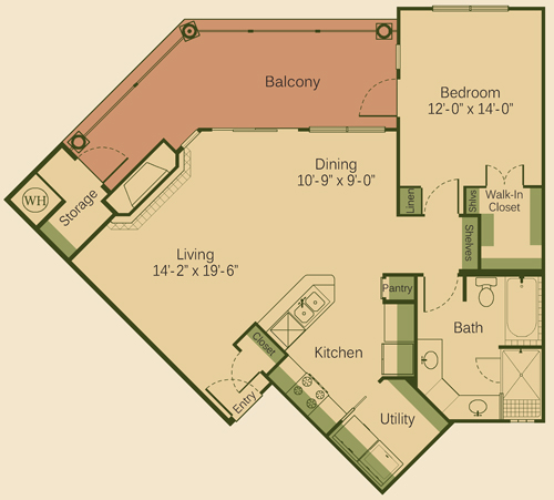 928 sq. ft. 1C-FP floor plan