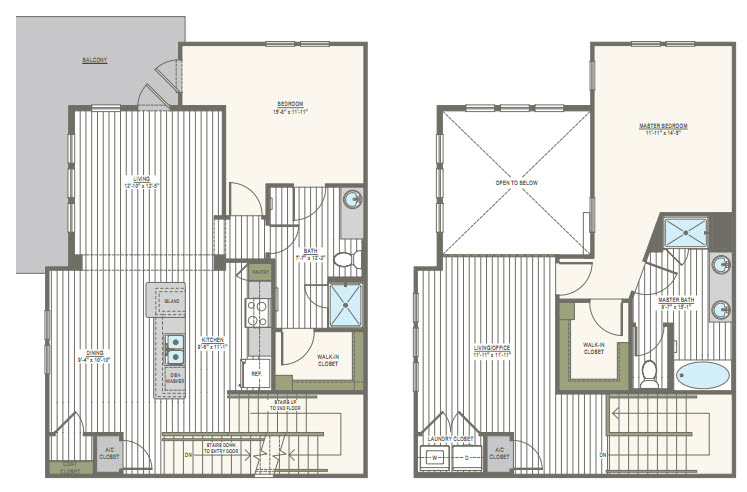 1,712 sq. ft. T1&2 floor plan