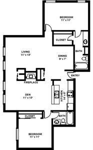 1,400 sq. ft. B6 floor plan