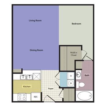 560 sq. ft. to 612 sq. ft. Bari floor plan