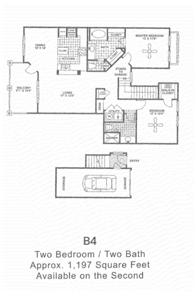 1,197 sq. ft. B4 2nd Flr floor plan