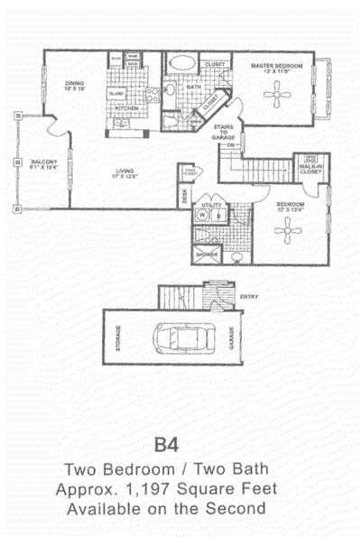 1,197 sq. ft. B4 2nd Flr floor plan
