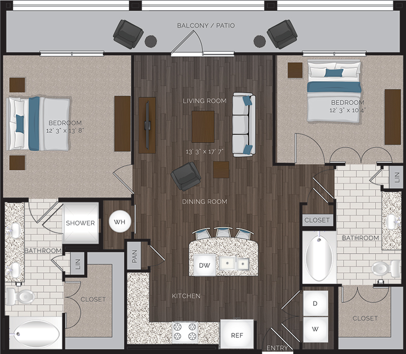 1,143 sq. ft. B3 floor plan