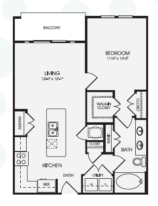 754 sq. ft. Dylan/A6 floor plan