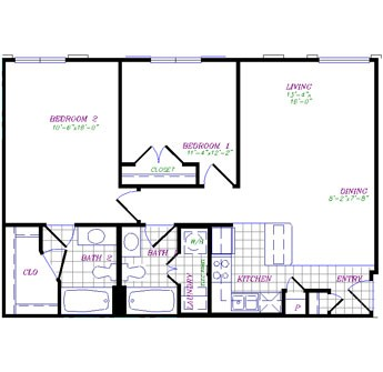 954 sq. ft. floor plan