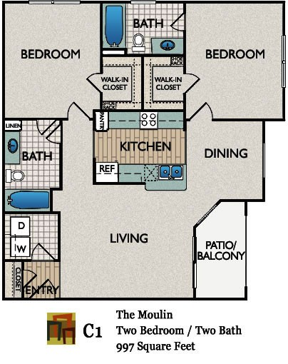 997 sq. ft. Moulin floor plan