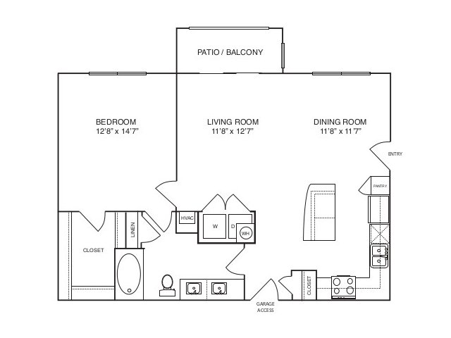 882 sq. ft. A3 alt 1 floor plan