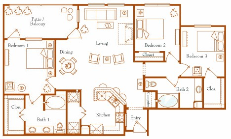 1,349 sq. ft. Hercules 32A/32B floor plan