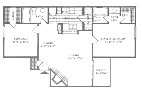 905 sq. ft. B1/Regency floor plan