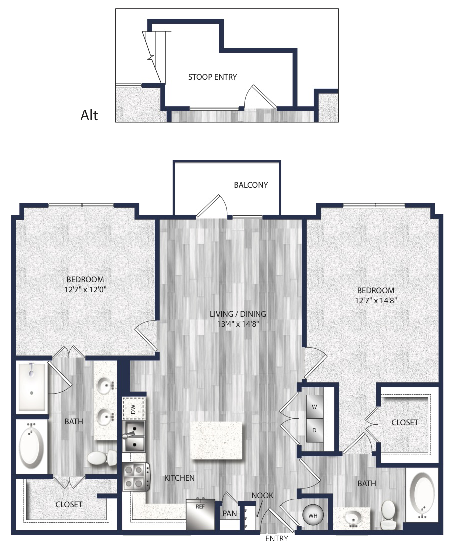 1,127 sq. ft. to 1,209 sq. ft. B1 floor plan