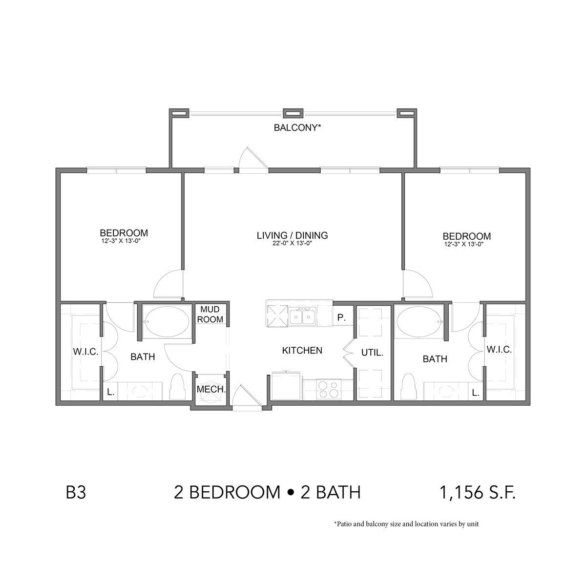 1,156 sq. ft. B3 floor plan