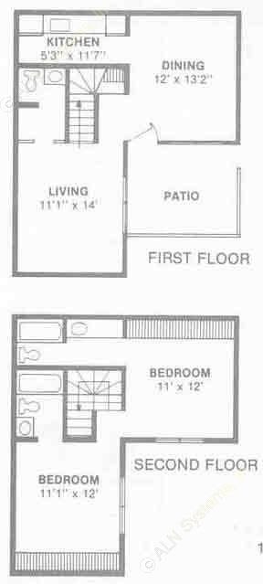1,041 sq. ft. B5 floor plan