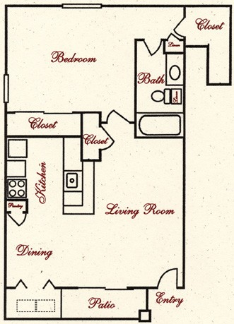750 sq. ft. A8 floor plan