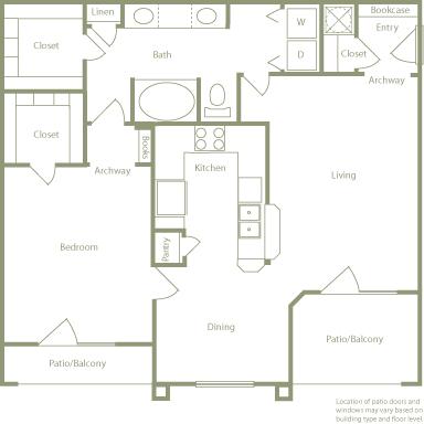 963 sq. ft. A floor plan