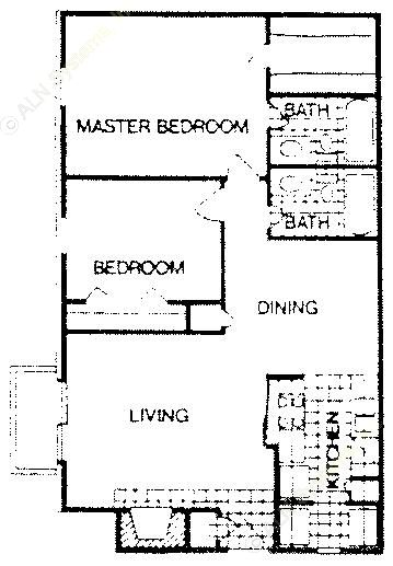 958 sq. ft. D floor plan