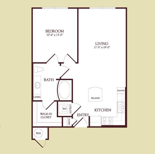 654 sq. ft. Cassatt floor plan