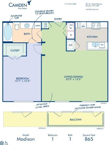865 sq. ft. MADISON floor plan