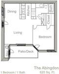625 sq. ft. BRIGHTON floor plan