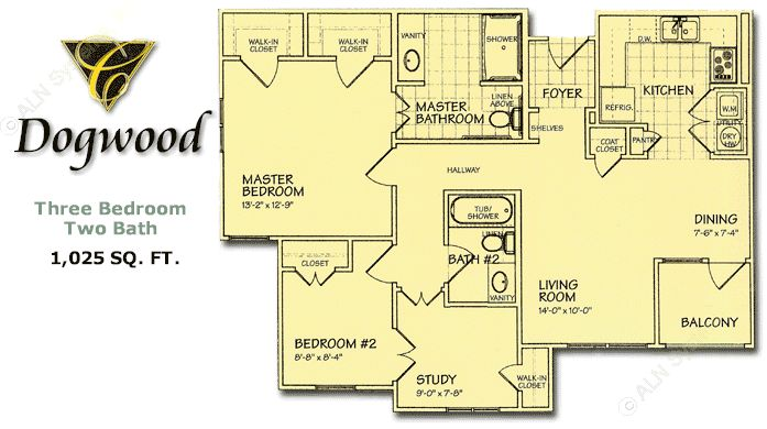 1,025 sq. ft. Dogwood/60% floor plan