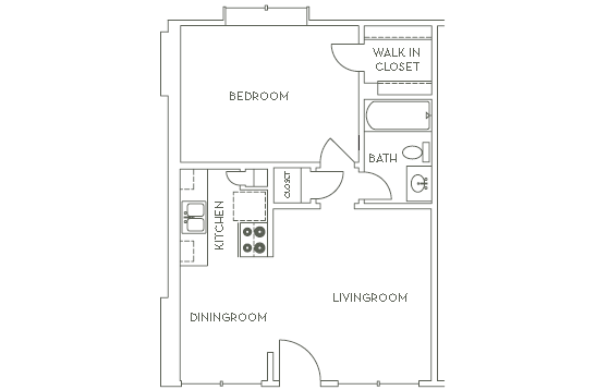 549 sq. ft. A2 floor plan