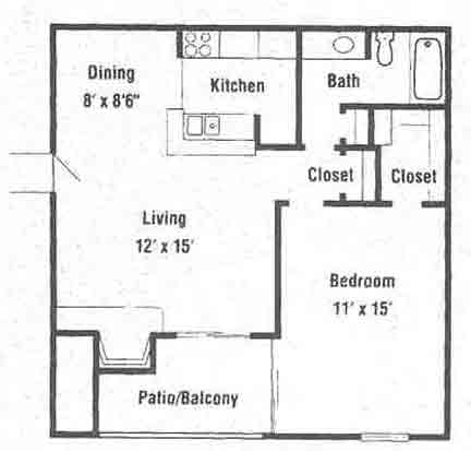 655 sq. ft. A4 floor plan
