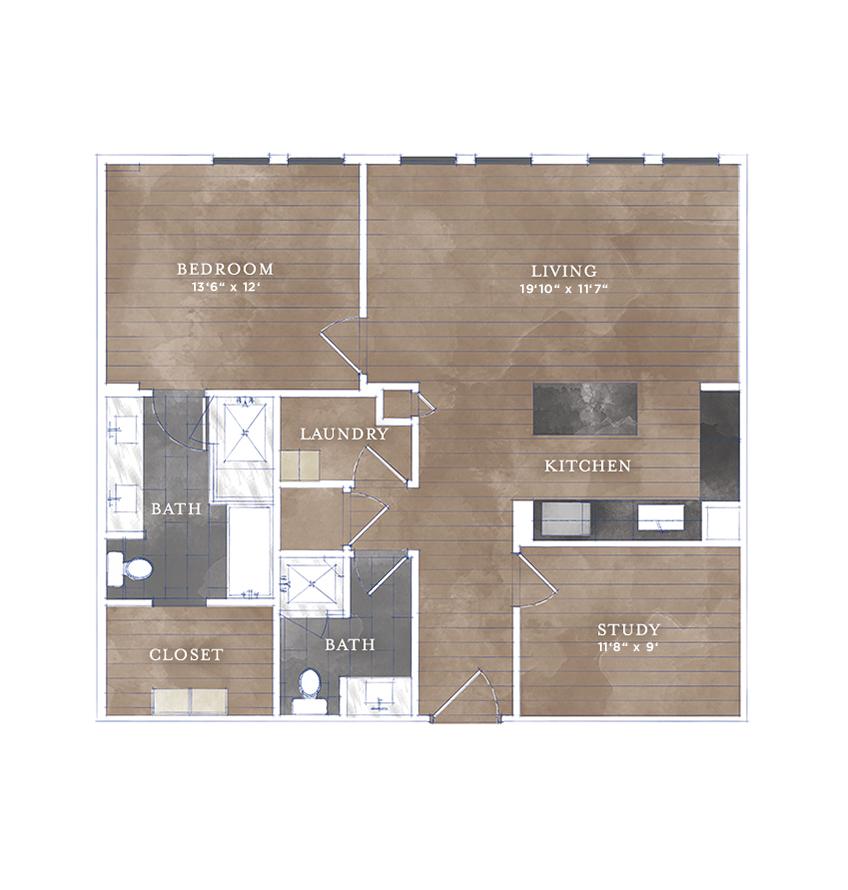 1,042 sq. ft. CS-6 floor plan