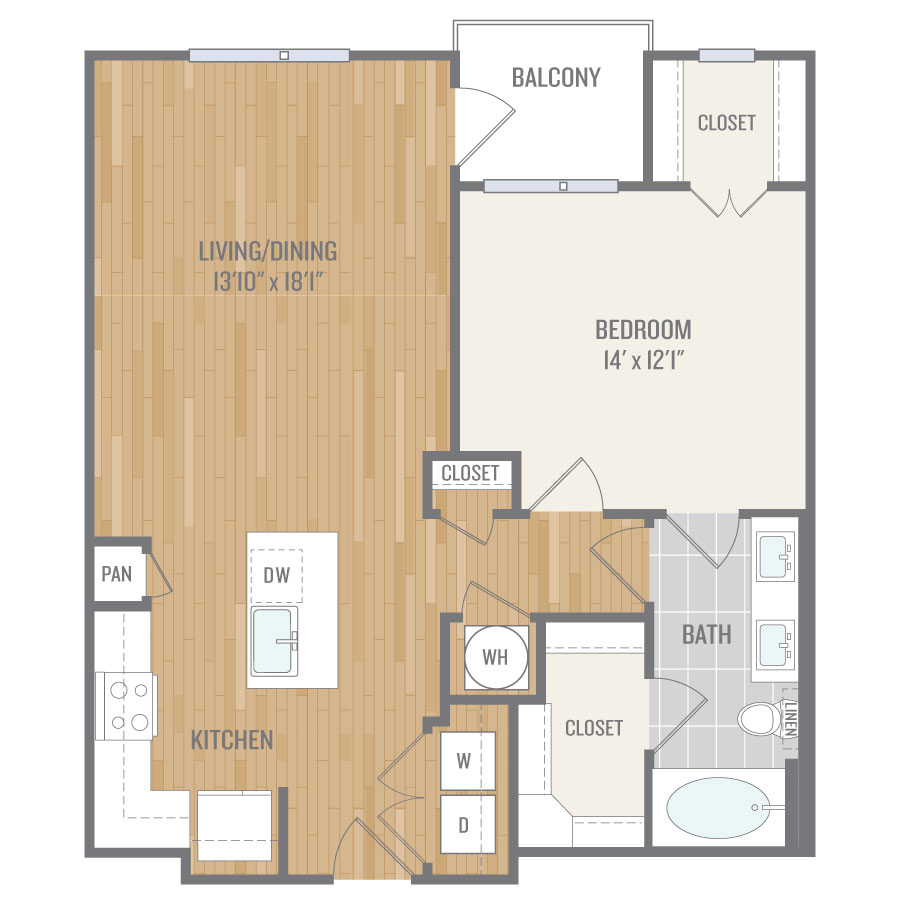 845 sq. ft. A9 floor plan