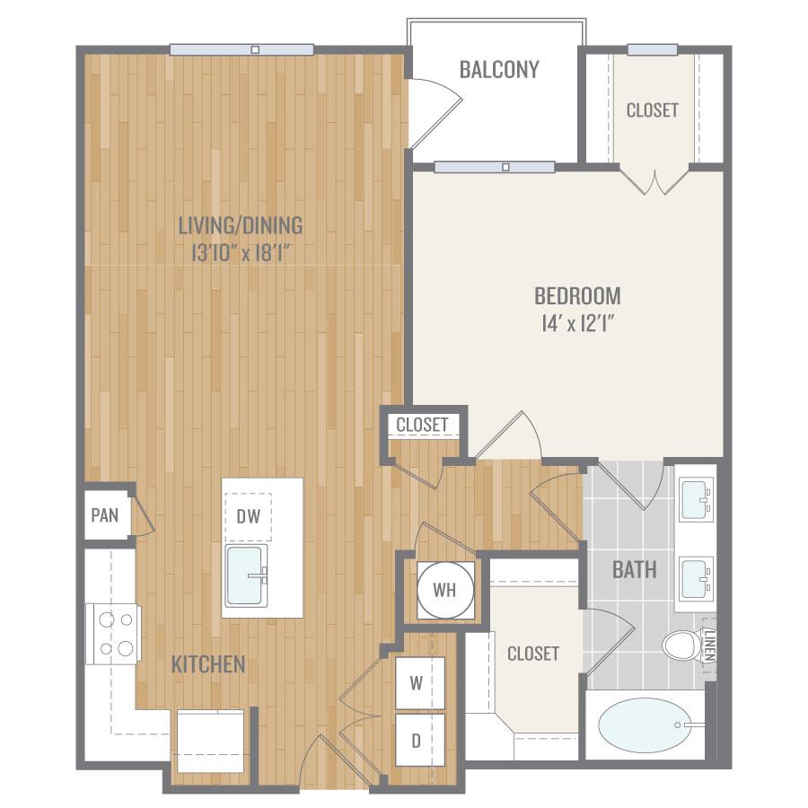 845 sq. ft. A9 floor plan