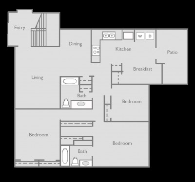1,451 sq. ft. to 1,452 sq. ft. D floor plan