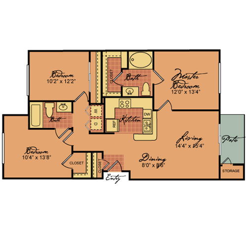 1,167 sq. ft. 60-ESPADA floor plan