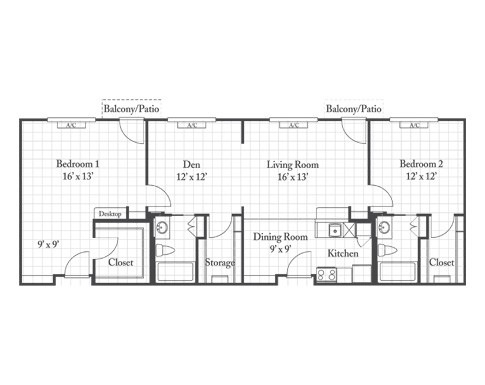 1,222 sq. ft. CYPRESS floor plan
