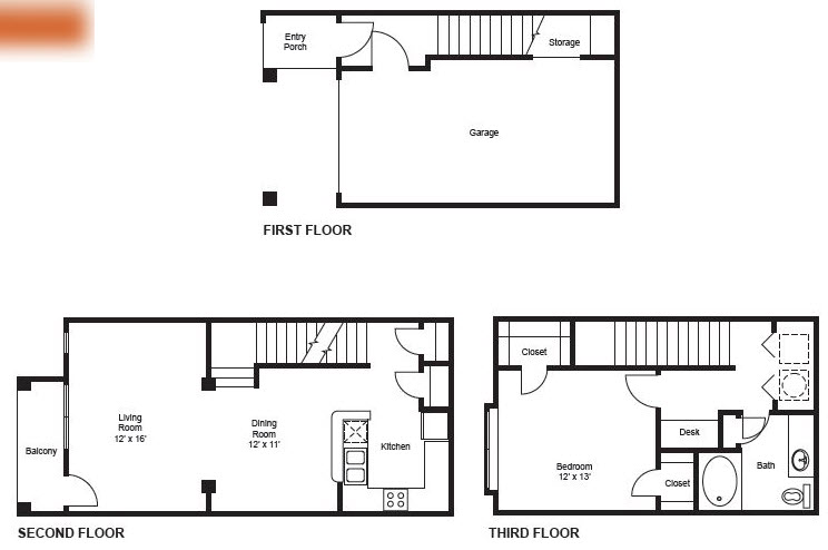 916 sq. ft. A4-Garage floor plan