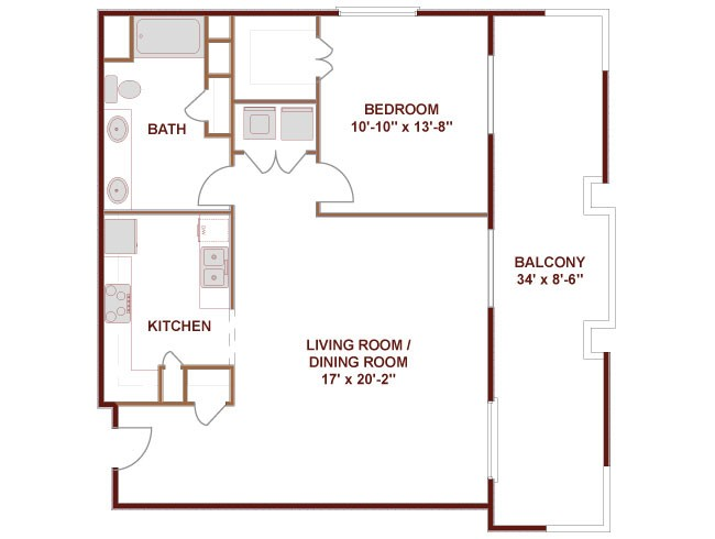 991 sq. ft. Brazos floor plan